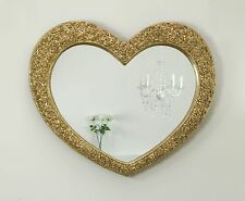 """Rose Heart Gold Shabby Chic Shaped Wall Mirror 43"""" x 36"""" V Large"""