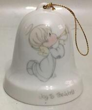 PRECIOUS MOMENTS TRUMPET ANGEL JOY TO THE WORLD SMALL BELL TREE ORNAMENT