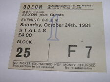 Saxon Vintage Ticket Stub Hammersmith Odeon 24 OCT 1981 NWOBHM