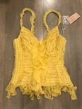 NEW MANDALAY Yellow Beaded Bustier Cocktail Dress Fringe Sequin Top Sz 4