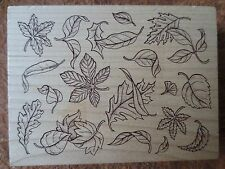 FALL LEAF pattern background rubber stamp -all night media 216J