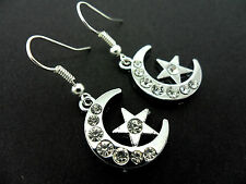 A PAIR OF  STAINLESS STEEL  DANGLY MOON & STAR DIAMANTE  EARRINGS. NEW.