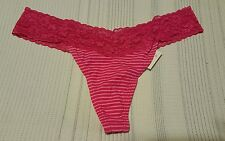 Pink G-String/Thong Panties with Lace on waist & Stripes  Size Large   10240