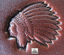 """1999 TLF/Midas Native American Indian Chief Head 1"""" Leather Stamp Tool 8532"""