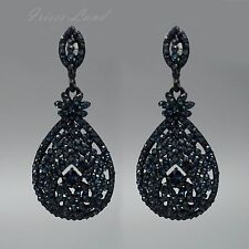 New Blue Dark Indigo Crystal Rhinestone Drop Dangle Earrings 00125 Black Alloy