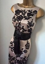 GORGEOUS COAST FLORAL EMBROIDERED SATIN EVENING DRESS SIZE 8