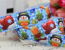 "1M 22mm 7/8"" SNOWMAN CHRISTMAS GROSGRAIN RIBBON 99p CAKE PARTY XMAS PUDDING SNOW"