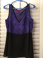 NARCISO RODRIGUEZ BLUE AND BLACK TANK TOP WITH BLACK BELT  WOMENS SMALL