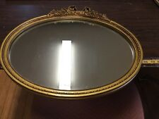 Vtg Oval Wall Beveled Mirror Gold Frame CAROLINA MIRROR Co Hollywood Regency