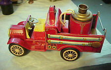 VINTAGE FRICTION DRIVE PUMPER FIRE TRUCK, TIN LITHO; RED,W/Trim ,ALL ORIGINAL!!