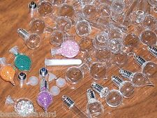 15pc Huge Lot Mix Glass beads Bottles vial charm wholesale tiny little pendants