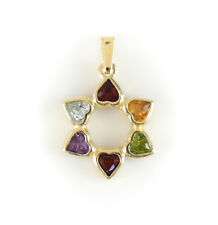 14k Yellow Gold Multi Colored Gemstone Heart Pendent. 1.83g
