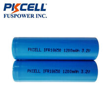 PKCELL 2PCS IFR 18650 3.2V 1200mAh LiFePO4 Rechargeable Battery Flat Top