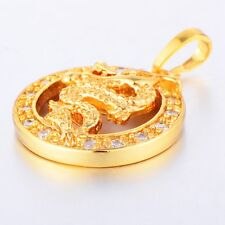 14K Yellow Gold Filled Dragon Pendant Drops Fashion Cameo Statement