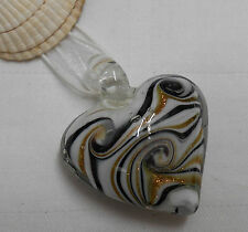 Murano glass necklace heart shape pendant black white on cord ribbon necklace