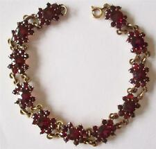 ANTIQUE VICTORIAN SUPERB GENUINE BOHEMIAN ROSE CUT GARNETS SILVER BRACELET