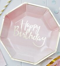 Luxury Party Supplies Decorations Foiled Pink Ombre Happy Birthday Paper Plates