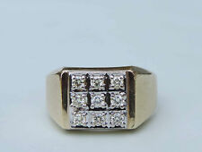 Mens Diamond Cluster Ring w/ 9 Genuine White Diamonds - 14k Yellow & White Gold