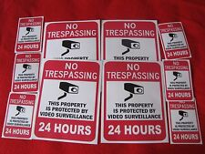 VIDEO SURVEILLANCE Security Decal  Warning Sticker (no trespassing)set of 10 pcs