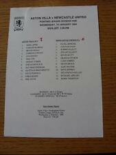 19/01/1994 Aston Villa Reserves v Newcastle United Reserves  (Single Sheet, Scor