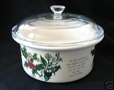 PORTMEIRION HOLLY & IVY CASSEROLE w PYREX GLASS LID NEW