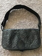 KENZO Paris Black Embossed Leather Handbag
