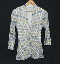 Weston Wear Top 3/4 Sleeve Nylon Mesh Multicolored V neck Size L Stretchable
