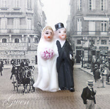 "Antique Bisque German Hertwig & Co Bride & Groom 1 1/8"" Wedding cake topper Doll"