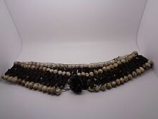 VINTAGE APPLE AND HEMP SEED TRIBAL NECKLACE BROWN AND CREAM
