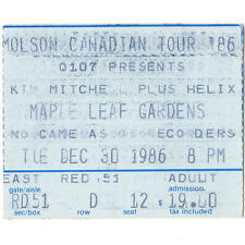 KIM MITCHELL & HELIX Concert Ticket Stub TORONTO ON 12/30/86 CANADA MAPLE LEAF
