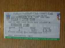 11/12/1999 Ticket: Fulham v Luton Town [FA Cup]