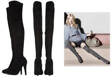 Karen Millen Limited Edition Stretch Suede Over the Knee Thigh Boots Black 38
