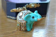 Juicy Couture Blue Elephant Charm pendant enamel gold Circus Zoo India w. box