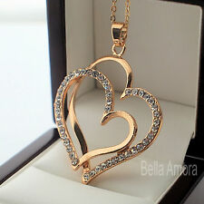 "9ct Yellow Gold Pltd Double Heart Pendant Clear CZ 18"" Chain Necklace - New 226"