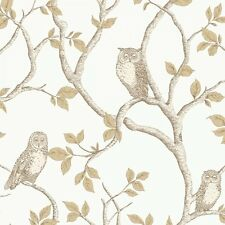 Fine Decor Woodland Owls Wallpaper Natural Cream / Gold