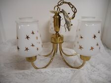 Vintage 5 Arm Light Atomic Deco Gold Star Shade Chandelier Brass Fixture