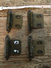 Lot 4 Vintage Self Closing Flush Cabinet Hinges Amerock Brass Square two hole