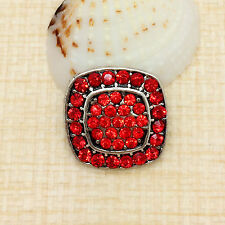 NEW Rhinestone Red Square Charm Chunk Snap Button fit for Noosa Bracelet BCD15