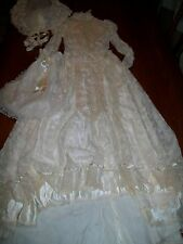Vtg Country Elegance Victorian Old West Off White Wedding Dress Boho W/Hat/Bag 2