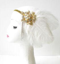 White Gold Silver Feather Headpiece 1920s Flapper Headband Ostrich Vintage 1803