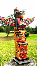 """INTRICATE HANDCARVED WOOD 12"""" TALL x 3"""" TOTEM POLE WITH DETACHABLE WINGS"""
