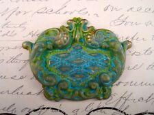 Large Verdigris Patina Brass Ornate Flourish Stamping (1) - VPRAT3017