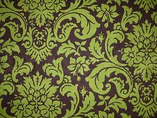 Braemore MAHOGANY Brown Lime Green Damask Print Home Decor Drapery Sewing Fabric