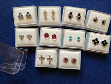 JOB LOT-10 pairs of coloured diamonte stud earring.Gift boxed.Silver plated.