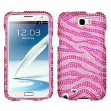 For Samsung Galaxy Note II Hot Pink Zebra Hard Diamond Case Cover