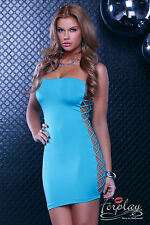 SEXY MINI ABITO VESTITO TUBINO AQUA NUDE LOOK DRESS CLUB WEAR PARTY FORPLAY S