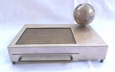 Mid Century Brass/Silver Music Box/Cigarette Case w/Tambour Door & World Globe