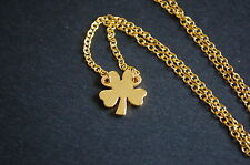 gold tone four leaf clover necklace vintage kitsch