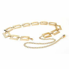 LADIES RETRO BOHO 70s STYLE EMBOSSED RECTANGLE DESIGN CHAIN LINK BELT GOLD TONE
