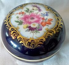 "Meissen Porcelain Cobalt Blue Ground & Gilt Floral 5"" Box w/lid Porzellan Dose"